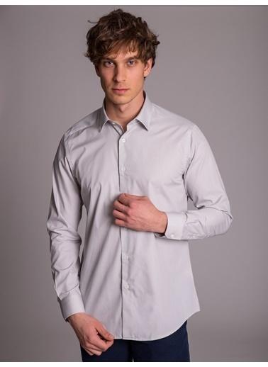 Dufy Açık Grı Ipeksı Klasık Erkek Gömlek - Slım Fıt Gri